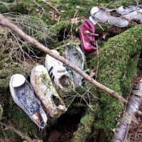 """Remnants: Shoes for a man, a woman and a child left in the Aokigahara Jukai forest on the flank of Mount Fuji in Yamanashi Prefecture. The name in part translates as """"Sea of Trees,"""" though with good reason it is often referred to as """"Suicide Forest."""""""