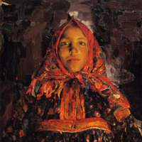 Philipp Malyavin's 'Verka' (1913) used a bold, modern Western style of painting to portray a Russian peasant girl in traditional dress.