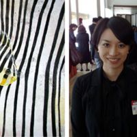 Meet your audience: Art student Chie Shibata saw her painting (left) sell for ¥520,000 at an auction held by the Mitsubishi Corporation Art Gate Program. | EDAN CORKILL PHOTO (right)