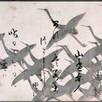 Poems of the 36 Immortal Poets over a painting of cranes (17th century) by Tawaraya Sotatsu | TOKYO NATIONAL MUSEUM