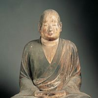 A 9th-century carving of Chisho Daishi (the priest Enchin), known as 'Okotsu Daishi'
