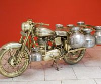 Mass transit: Subodh Gupta's 'Bullet' (2007), a life-size Royal Enfield Bullet motorcycle in brass and chrom | MORI ART MUSEUM