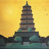 Preserving heritage on silk and paper: 'Dawn at Dayan Pagoda, Chang'an' (2000) by Ikuo Hirayama. | COURTESY OF YAKUSHIJI TEMPLE, NARA