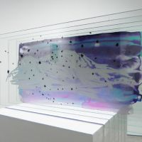 Through the looking glass: 'Layer of Reminiscence' (2011) uses six sheets of glass, each painted with images that either converge into a landscape or, if viewed from a different angle, offer a different view altogether. | COURTESY OF KODAMA GALLERY, KYOTO
