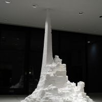 'Forest of the Skyscraper,' a 3.6-meter-tall tower bring exhibited at the Hakone museum, used 3.5 tons of salt.