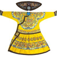 Court style: 'Yellow Quilted Women's-style Court Robe with Polychrome Clouds and Dragons Design' (Qing Dynasty, Jiaqing Era, 1796-1820). | COLLECTION OF THE PALACE MUSEUM, BEIJING, CHINA