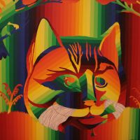 A 'rainbow painting'featuring a native American folk-art cat from his 'Nashville Skyline' series (1971-72)   C.B. LIDDELL