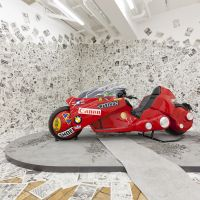 Be a part of the fantasy: Shinji Tejima, a Katsuhiro Otomo fan from Fukuoka, made this working replica of the iconic motorbike from 'Akira.' For a donation of ¥500, visitors to the exhibition can have their photo taken with the bike, while wearing a copy of the jacket worn by one of the manga's heroes Kaneda.