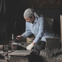 A still from 'Films for 'TEMA HIMA: the Art of Living in Tohoku'' showing Kozo Tazawa working at the Tsugaru Iron Works in Hirosaki, Aomori Prefecture. | © TOM VINCENT/ YU YAMANAKA