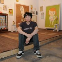 Heart on his sleeve: Artist Yoshitomo Nara in a re-creation of his studio at his current exhibition. | SATOKO KAWASAKI