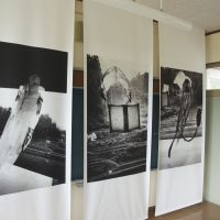 Daido Moriyama's 'Real Lear' photos on display inside an abandoned-school project in Myokama village, Tokamachi, Niigata