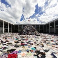 Clothing for thought: Christian Boltanski's 'No Man's Land' takes up the entire pond space of the newly renovated Echigo-Tsumari Satoyama Museum of Contemporary Art. | OSAMU NAKAMURA