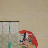 Part of 'Three Excellent Female Waka Poets: Sotorihime,' by Tanaka Totsugen. (19th century)