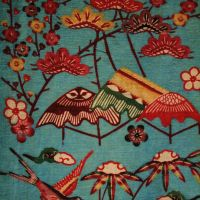 Flights of fancy: A 19th century bingata (stencil resist dyed) pattern of exotic birds and flowers on a cotton kimono.