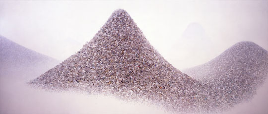 Catastrophic canvas: Makoto Aida's 'Ash Color Mountains' (2009-11) depicts several mountains made up of the bodies of dead salarymen. | TAGUCHI ART COLLECTION COURTESY MIZUMA ART GALLERY (COOPERATION: ATSUSHI WATANABE)