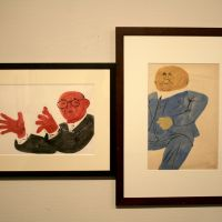 The white collars: Ben Shahn's 'Male Figure with Outstretched Hands' and 'Man in Blue Suit' on display at the The Museum of Modern Art, Saitama. | C.B. LIDDELL