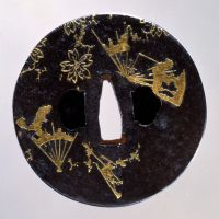 'Sword Guard with Torn Fan and Cherry Blosson Design,' an Important Cultural Property