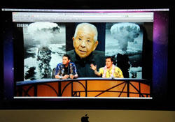 Bad joke: A photo of a YouTube video showing the episode of the BBC quiz show 'QI' in which comedians joked about Tsutomu Yamaguchi, who survived both the Hiroshima and Nagasaki atomic bombings. | SATOKO KAWASAKI PHOTO