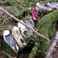 Left behind: Abandoned shoes in Aokigahara forest near Mt. Fuji, which is a renowned suicide spot. From the series 'Japan Suicide,' which won a Jury Prize at the 7th Days Japan International Photojournalism Award.   ROBERT GILHOOLY PHOTO