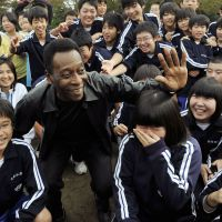 Name game: Soccer superstar Pele was in Japan last week to visit the tsunami-hit region of Tohoku and to offer the support of the Brazilian people to those living in the region. | KYODO PHOTO