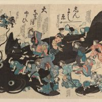Moving pictures: On Nov. 11 1855, the Great Ansei Earthquake struck Edo (now Tokyo), killing 7,000 and inflicting widespread damage. According to legend, quakes are caused by giant catfish moving underground. Soon after, quake woodblock prints known as namazu-e (catfish pictures) became popular, such as this one which shows residents of Edo punishing the catfish that caused the quake. | KYODO