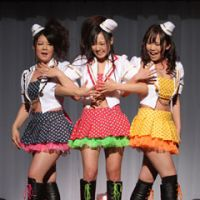 Erotic pop trio Marshmallow 3D, which was collectively in the running for Best New Actress, give a short musical performance.