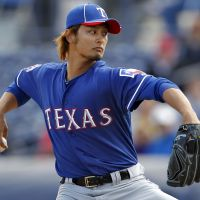 Strike while the iron's hot: Texas Rangers pitcher Yu Darvish, at a spring training baseball game against the San Diego Padres on March 7 in Peoria, Arizona. | AP