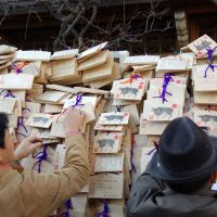 Hopes and dreams: People tie up ema votive plates during their traditional new year's visit to Yushima Tenmangu Shrine in Bunkyo Ward, Tokyo. Each year the ema depict the astrological animal associated with that year. | © YASUFUMI NISHI/JNTO