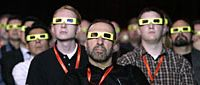 Some of Hollywood's biggest names, (from left, below) George Lucas, Robert Zemeckis, Randal Kleiser, Robert Rodriguez and James Cameron, believe cinema's future is in 3-D film, and that audiences will soon look like these 3-D moviegoers (above). | AP PHOTOS
