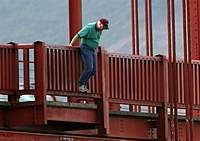 A man about to jump to his death in the film in 'The Bridge.'