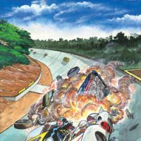 Crash and burn: The show's thrilling car races provided plenty of explosive action. | © TATSUNOKO PRO.