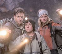 Caving in: Fraser and friends prepare to get mucky in 'Journey to the Center of the Earth.'   © MMVIII NEW LINE PRODUCTIONS INC. AND WALDEN MEDIA LLC. ALL RIGHTS RESERVED