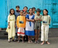 Sunshine snappers (from left): Puja, Suchitra, Kochi, Avijit, Tapasi, Gour, Manik and Shanti were given a chance to dabble in photography in the documentary 'Born into Brothels' and many of their images appear in the film.