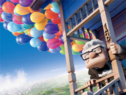 Taking flight: Carl Fredricksen takes the house for a whirl in 'Up.' | © WALT DISNEY PICTURES/PIXAR ANIMATION STUDIOS. ALL RIGHTS RESERVED