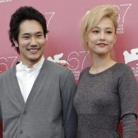 Other actors, including Kenichi Matsuyama (above, posing with actress Rinko Kikuchi) and Kyoka Suzuki (below), who hail from the northern regions most affected by the quake, are also actively drumming up support for the victims. | KYODO PHOTO