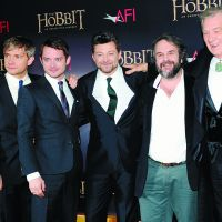 Shire boys (from left): Actors Martin Freeman, Elijah Wood and Andy Serkis, with director Sir Peter Jackson and actor Sir Ian McKellan attend the film premiere of 'The Hobbit: An Unexpected Journey' in New York on Dec. 6. | AP