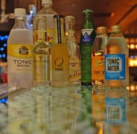 Seventy percent tonic: When most of the liquid in your G&T is tonic, why not go for a good one? Above: A selection of tonics for taste-testing in Roppongi Hills' Rigoletto bar. Below: Some of the tasters.