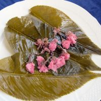 Preserved sakura leaves and flowers.