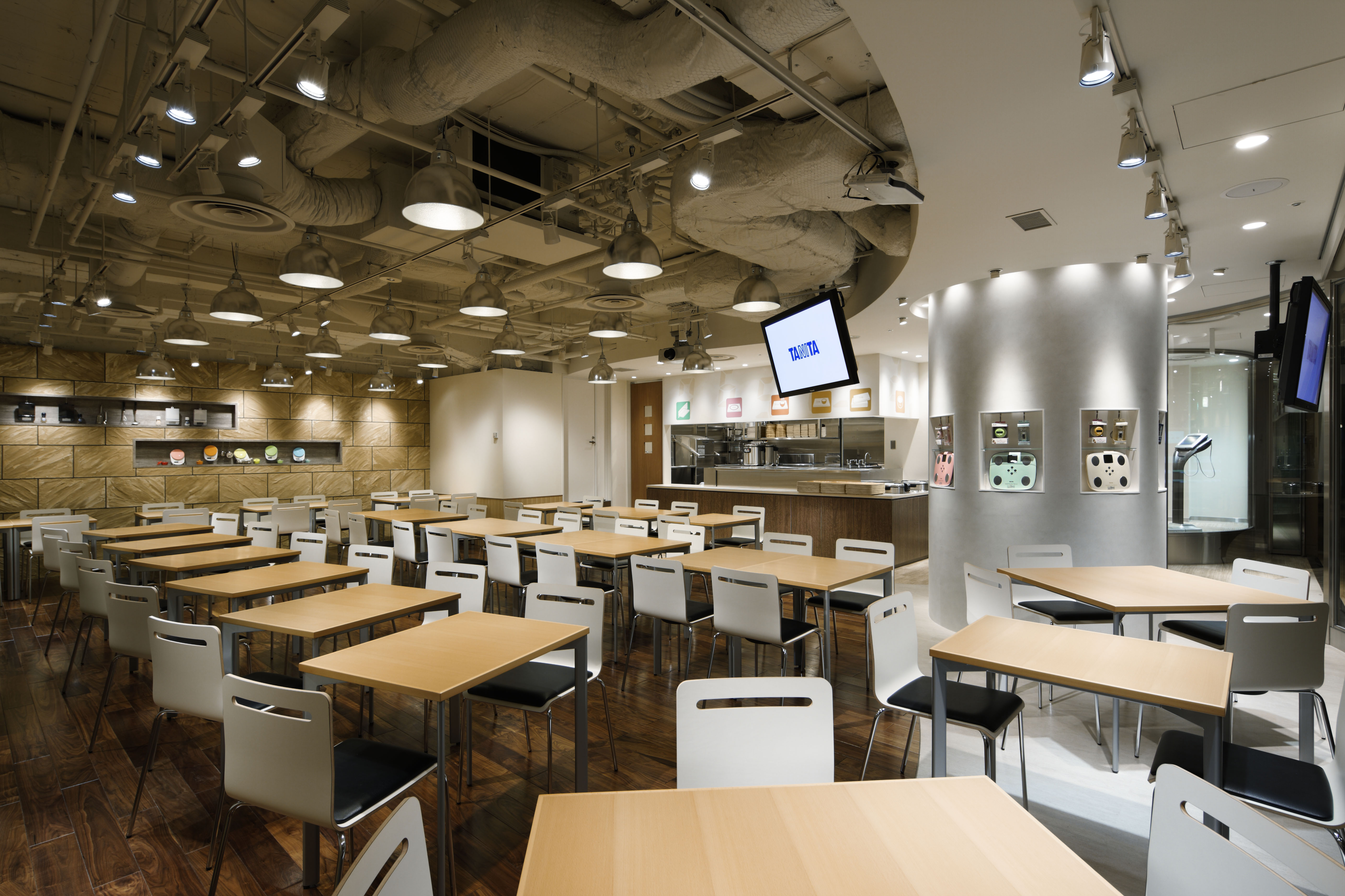 Working lunch: Many Japanese offices pride themselves on their cafeteria, with some even open to the public. Marunouchi Tanita Shokudo (above and below) is actually a popular standalone restaurant. | GMO INTERNET INC.