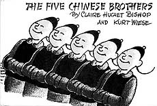 The five Chinese brothers (above) have achieved worldwide fame, while in the 1904 boys' adventure 'Under the Mikado's flag' (below), a pair of American teenagers enlist in the Japanese Army to help fight the Russians.