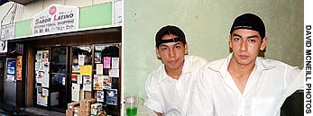 The Sabor Latino restaurant caters to South American locals; (left) customers Raul Dearaujo and Nishi Fumiyo Sawarze.