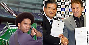 Foreign athletes and coaches like Tuffy Rhodes (left) and Zico, play prominent roles in professional Japanese sport, but non-Japanese are excluded from amateur sports here.