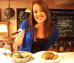 A newcomer to Japan tucks into vegetarian fare at a restaurant in Tokyo. | THOMASINA LARKIN PHOTO