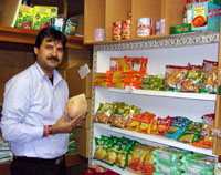Manager Manoj Kumar Dewan poses at Spice Magic Bazaar, near Nishi Kasai station in Edogawa Ward, Tokyo, where you can find a wide selection of Indian groceries.