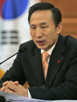 South Korean President Lee Myung Bak, who was inaugurated last week. | AP PHOTO