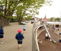 The building at Fuji Yochien was built as a doughnut to allow students plenty of room to run.