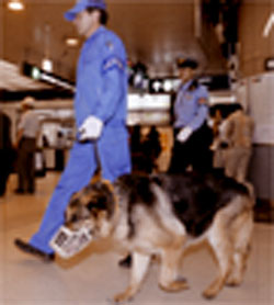 On the best: Security patrols Sapporo train station Sunday as Hokkaido hosts the 2008 Group of Eight Summit.   KYODO PHOTO
