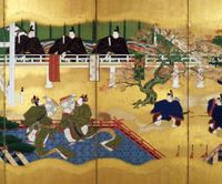 Falling in: Genji and a partner dance at an autumn festival in the 17th- to 18th-century 'Folding Screens of the Tale of Genji' by Kano Osanobu. | HONENJI TEMPLE, KAGAWA