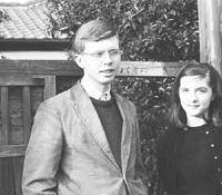 Home sweet home: Kenneth Pyle and his wife Anne pictured as graduate students in 1962 outside their small house in Suginami Ward, Tokyo. | KENNETH PYLE