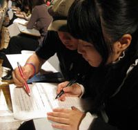 Raring to go: The first-ever Japan Quiz Contest brought out enthusiastic foreign Japanophiles from 36 Japanese-language schools.   TOMOKO OTAKE PHOTO